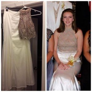 2 piece prom dress. Tan top and off white bottom